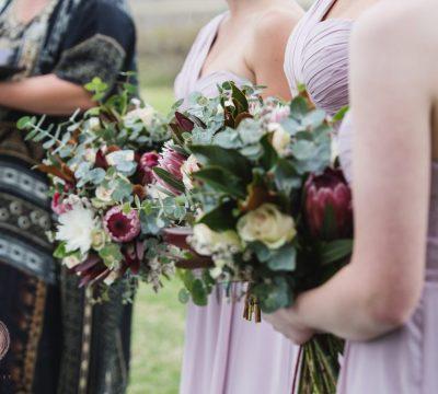 Bridesmaids protea bouquets by willa floral design