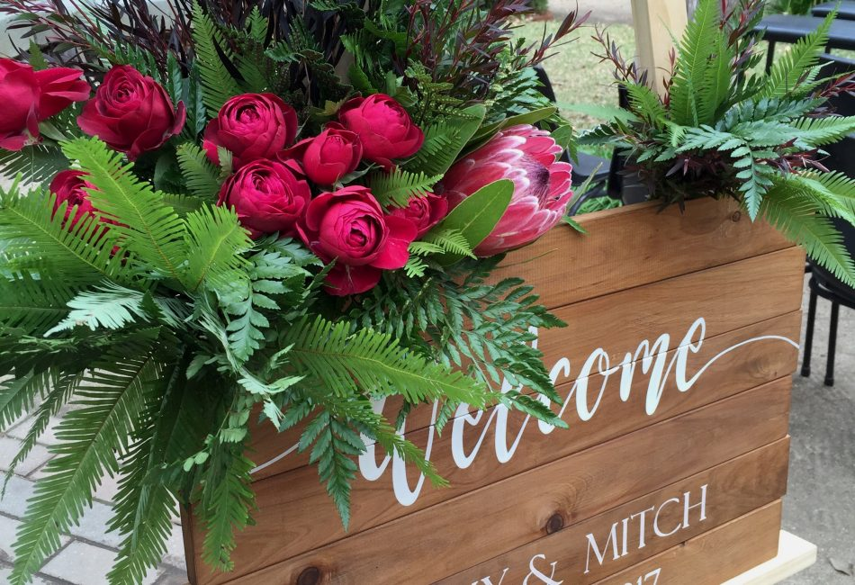 Boho ceremony sign flowers by willa floral design