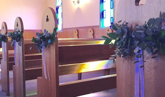 Foliage ceremony pew ends by Willa Floral Design