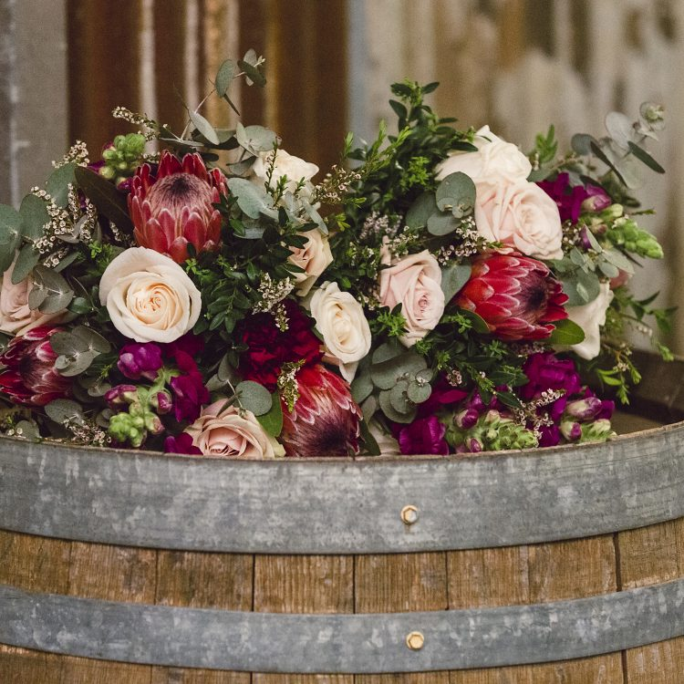 Vineyard wedding burgundy and blush bouquets by Willa Floral Design