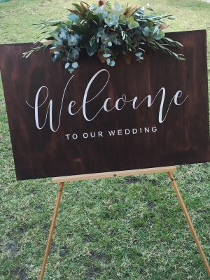 Wedding welcome sign flowers hunter valley newcastle willa floral design