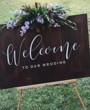 Hire wedding ceremony welcome sign Willa Floral Design