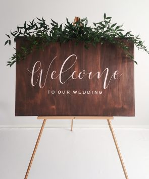Wedding hire ceremony welcome sign