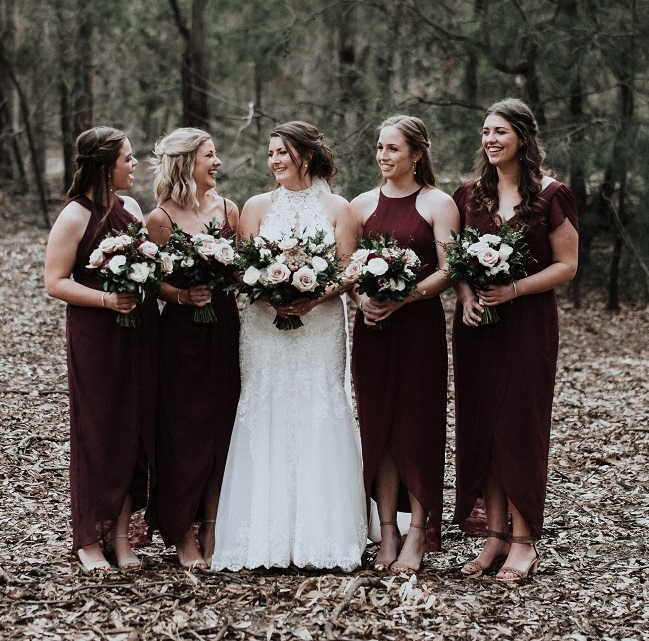blush burgundy wedding flowers