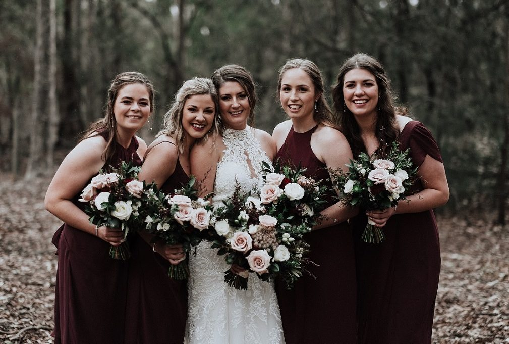 wedding flowers burgundy blush white