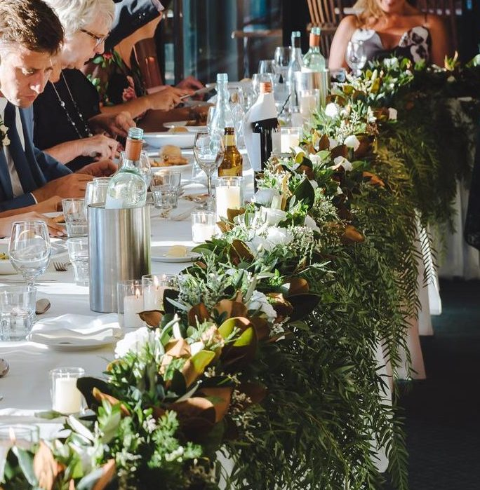 wedding table garland flowers
