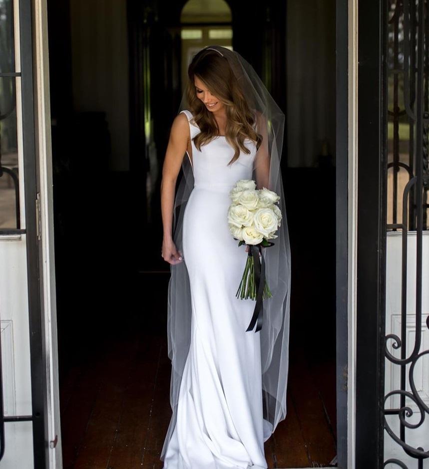 white rose bride bouquet
