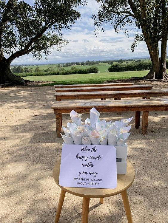wedding ceremony petal cones
