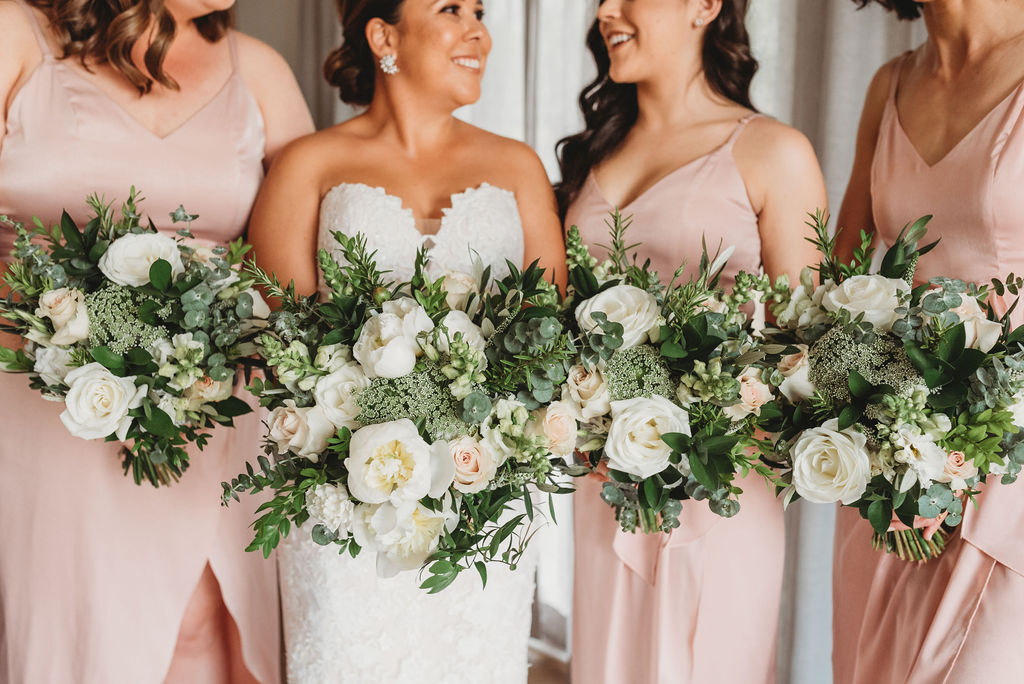 white blush greenery bouquets