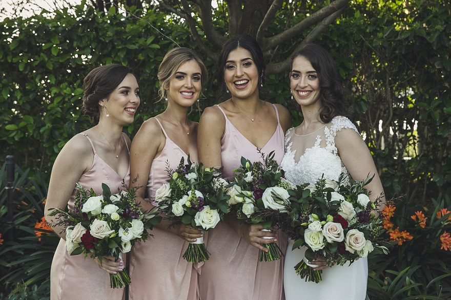 white blush burgundy bouquets