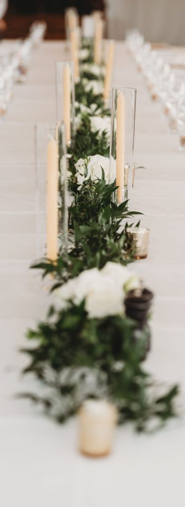 wedding table garland candles