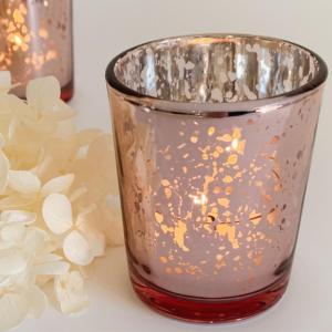 wedding hire rose gold votive candles