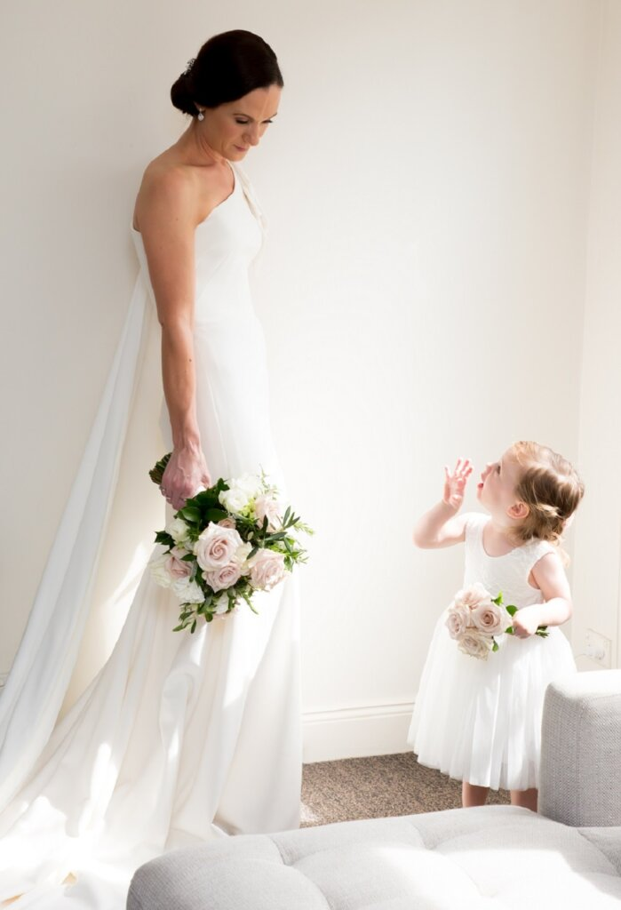 bride and flower girl flowers