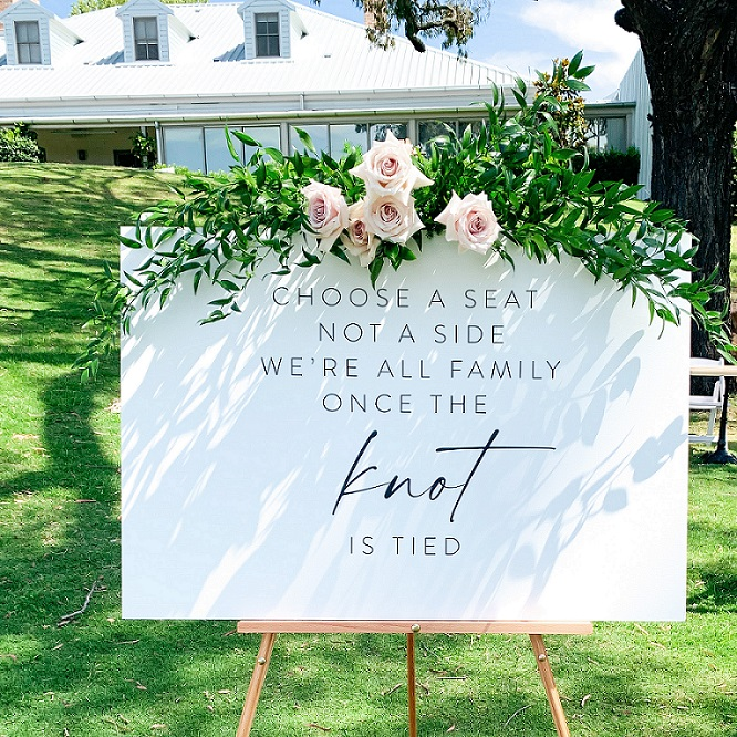 wedding sign hire with flowers