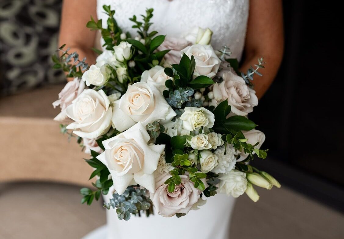 bridal bouquet white and blush flowers greenery