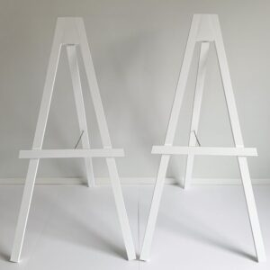 wedding styling white wooden easels