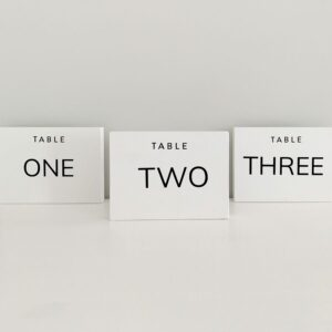 wedding table numbers white and black
